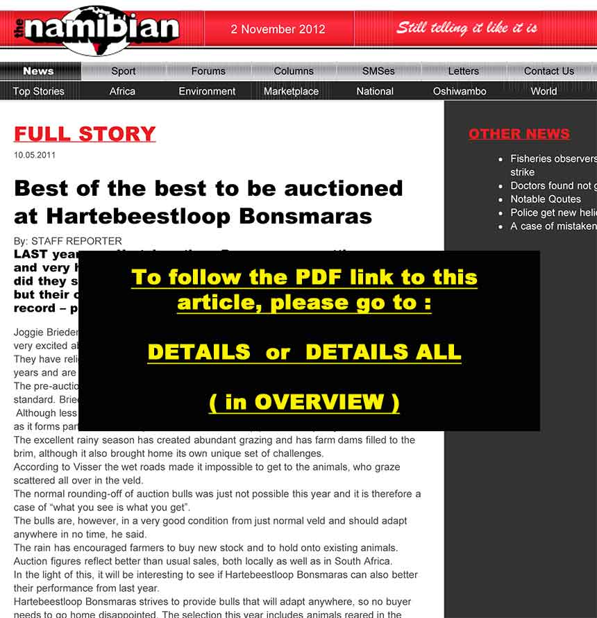 The Namibian: Best of the best to be auctioned off at Hartebeestloop Bonsmaras