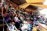 View of guests at packed Eastern stand