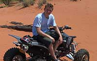 Byron Briedenhann on his quad bike - nothing like riding the dunes!